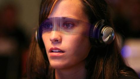 girl wearing vr glasses